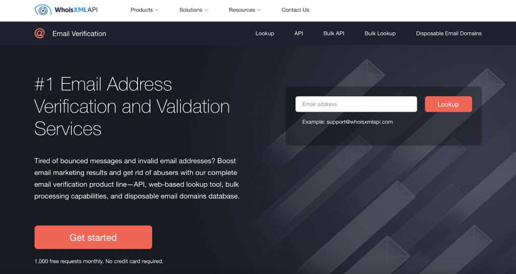 WhoisXML API Email Verification Tools Homepage