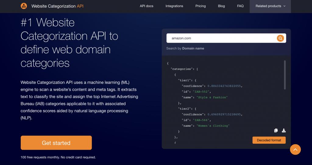 Website Categorization API by WhoisXML API Homepage