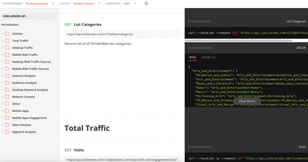 SimilarWeb Website Categorization Homepage