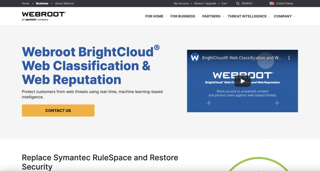 Webroot Web Classification Homepage